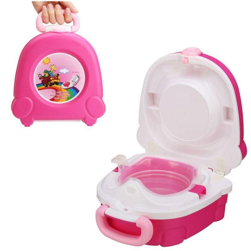 Портативный складной детский горшок-чемоданчик The Handy Potty, цвет розовый
