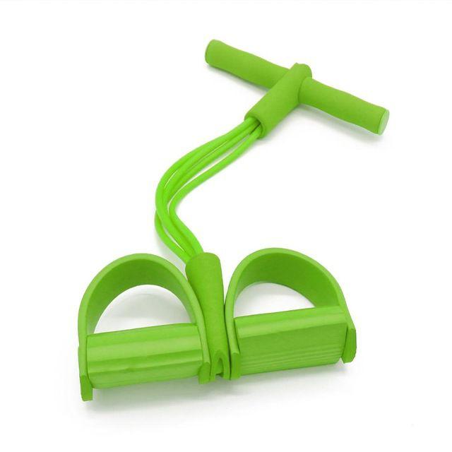 Универсальный Латексный Эспандер С Ручками И Упорами Для Ног, 4 Трубки, Цвет Зеленый