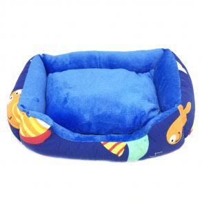 Прямоугольный лежак для животных, 40х32см, Цвет синий, Рисунок рыбки