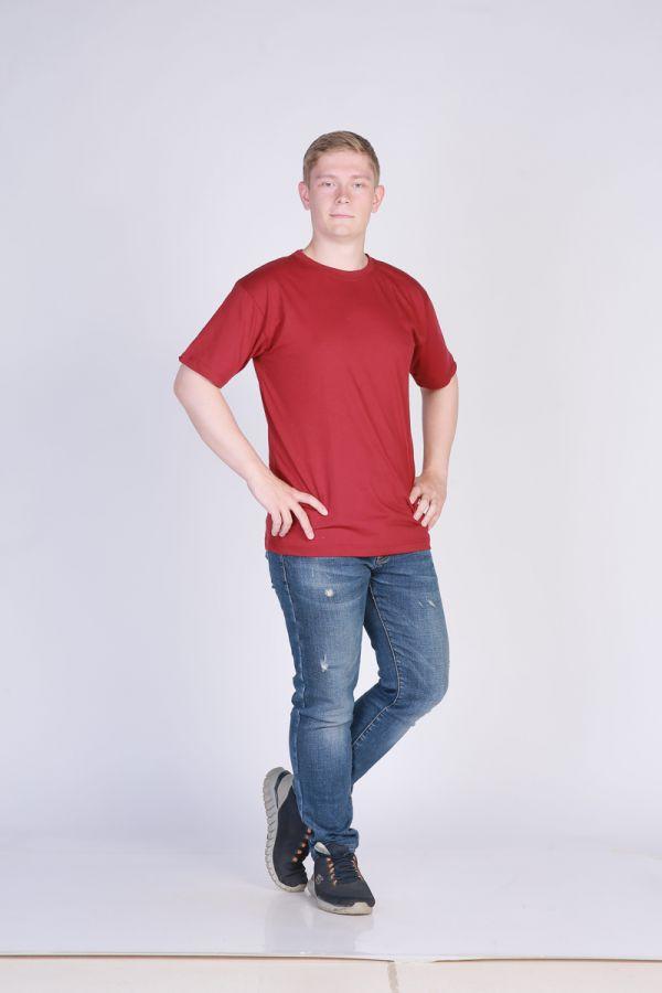 Футболка мужская без принта темно-красная