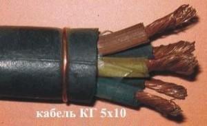 Кабель КГтп 5х10 (ГОСТ) силовой медный гибкий  дв. изоляция резина от -40 до +50°С 600В