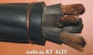 Кабель КГтп 4х25 (ГОСТ) силовой медный гибкий дв. изоляция резина от -40 до +50°С 660В