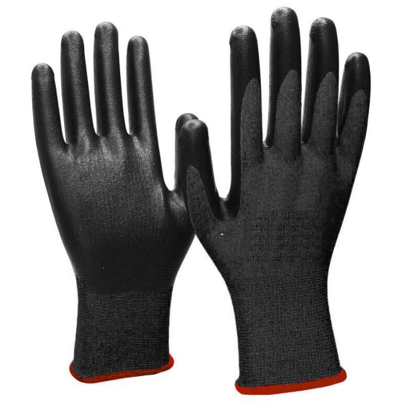Нейлоновые перчатки с нитриловым покрытием, 12 пар, цвет черный