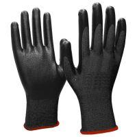 Нейлоновые перчатки с нитриловым покрытием, 12 пар, цвет черный (1)