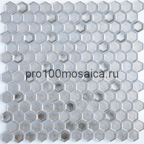 Мозаика Argento grani hexagon 30х30x0,6 см (чип 23х13х6 мм)