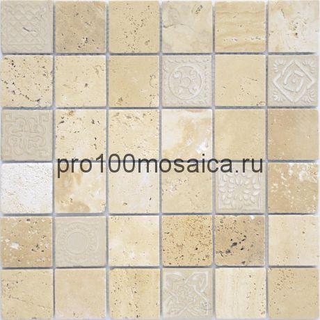 Мозаика Art Travertino beige матовая 30х30х0,8 см (чип 48х48х8 мм)