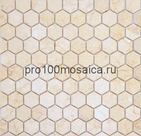 Мозаика Pietrine Hexagonal - Botticino матовая 29,5x30,5х0,6 см (чип 18х30х6 мм)