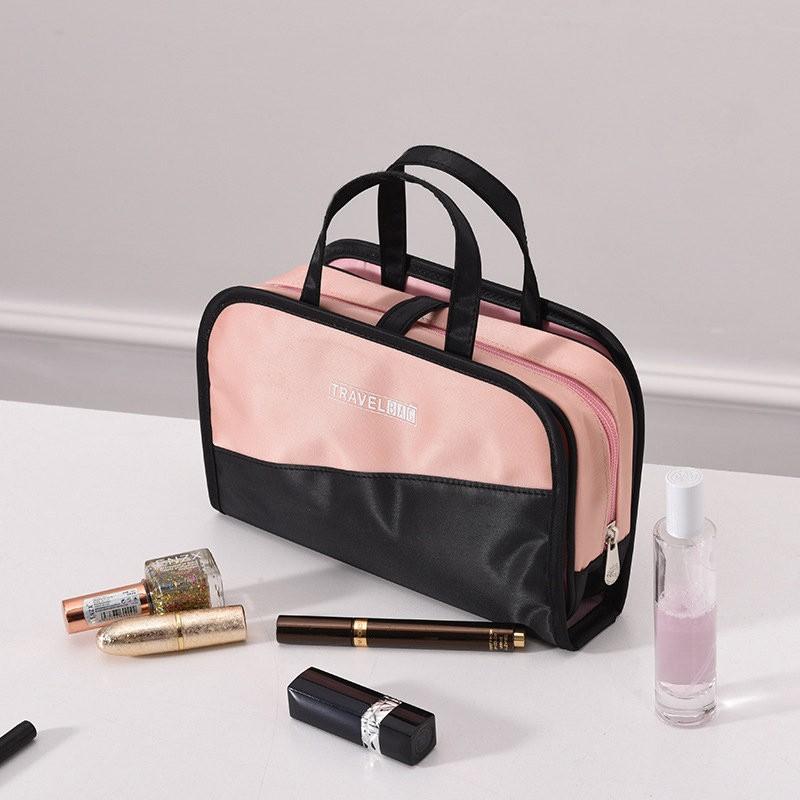 Дорожная косметичка со съёмным отделением Travel Bag, Цвет Черно-Розовый