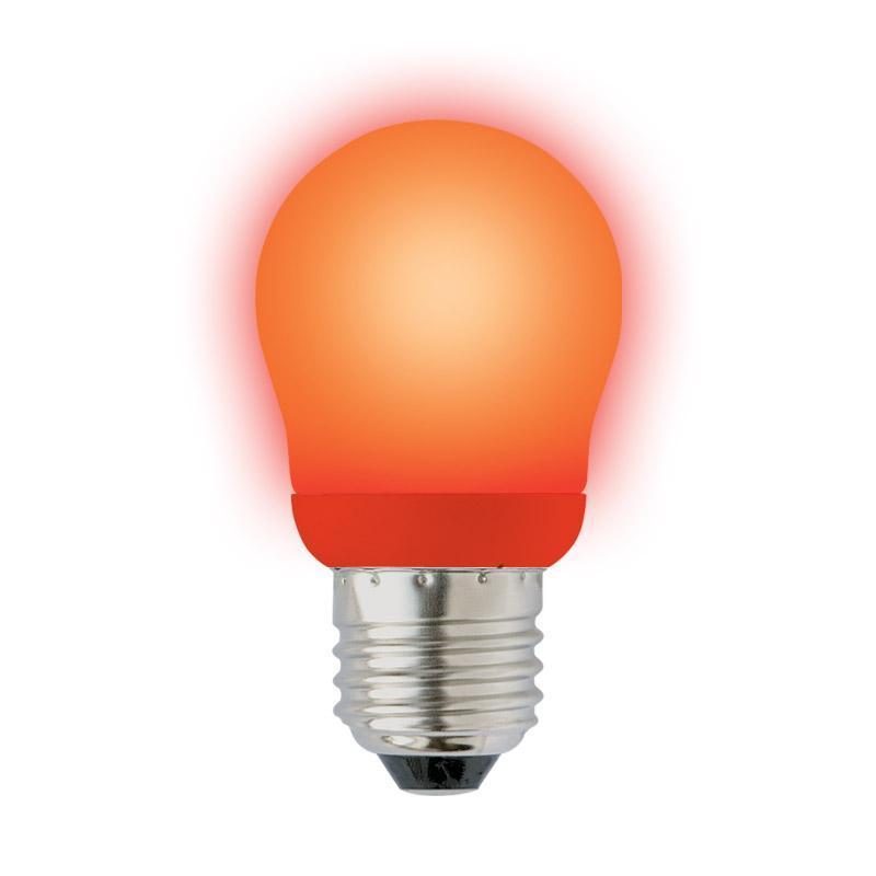 Лампа энергосберегающая (02955) Uniel E27 9W Red красный ESL-G45-9/RED/E27