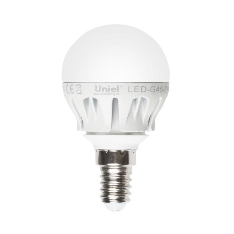 Лампа светодиодная (08138) E14 6W 4500K матовая LED-G45-6W/NW/E14/FR ALM01WH