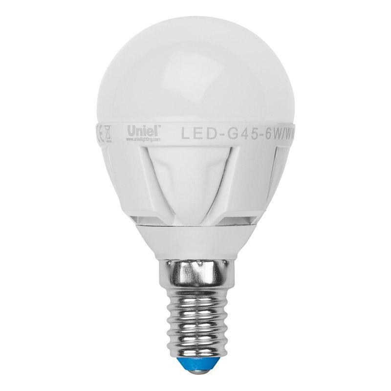 Лампа светодиодная (07905) E14 6W 3000K матовая LED-G45-6W/WW/E14/FR ALP01WH