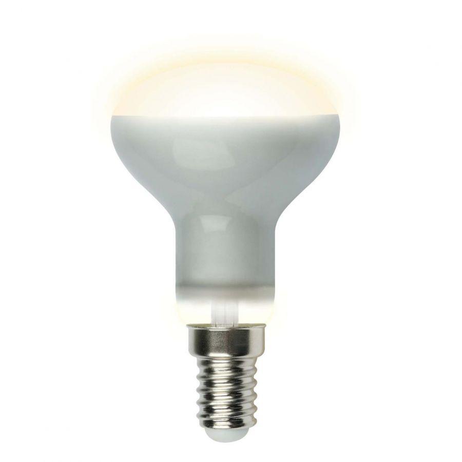 Лампа светодиодная рефлекторная (UL-00001491) Uniel E14 6W 3000K матовая LED-R50-6W/WW/E14/FR PLS02WH