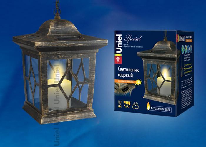 Подвесной светильник на солнечных батареях (10227) Uniel USL-S-180/PT220 Bronze lantern