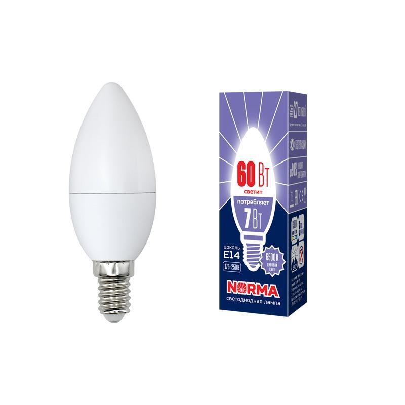 Лампа светодиодная (UL-00003794) E14 7W 6500K матовая LED-C37-7W/DW/E14/FR/NR