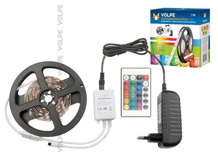 Светодиодная лента Volpe (10775) 5,4W/m 30LED/m 5050SMD RGB 3M ULS-Q211 5050-30LED/m-IP20-3M-RGB RRP24C24