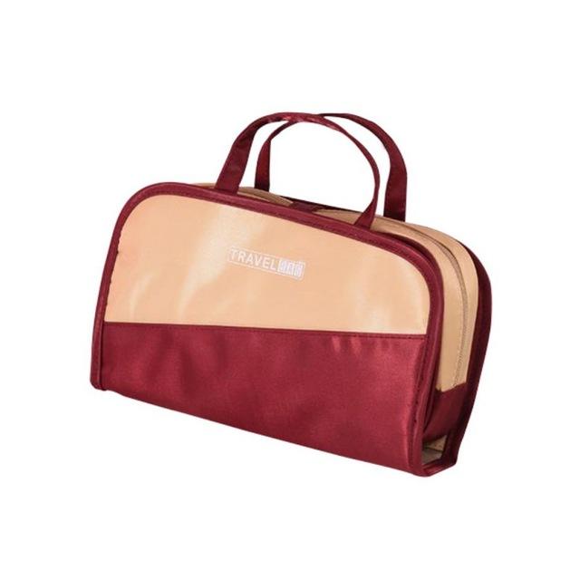 Дорожная Косметичка Со Съёмным Отделением Travel Bag, Цвет Бордово-Бежевый