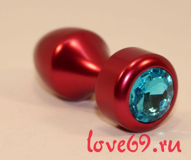 Красная анальная пробка с голубым кристаллом - 7,8 см.