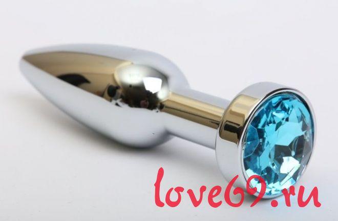 Удлинённая серебристая пробка с голубым кристаллом - 11,2 см.