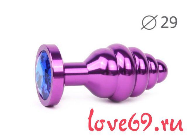 Коническая ребристая фиолетовая анальная втулка с синим кристаллом - 7,1 см.