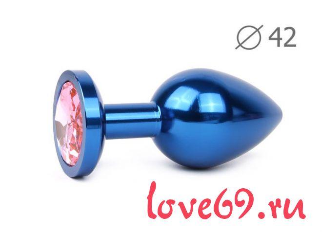 Коническая синяя анальная втулка с розовым кристаллом - 9,3 см.
