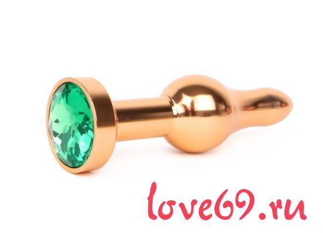 Удлиненная шарикообразная золотистая анальная втулка с зеленым кристаллом - 10,3 см.