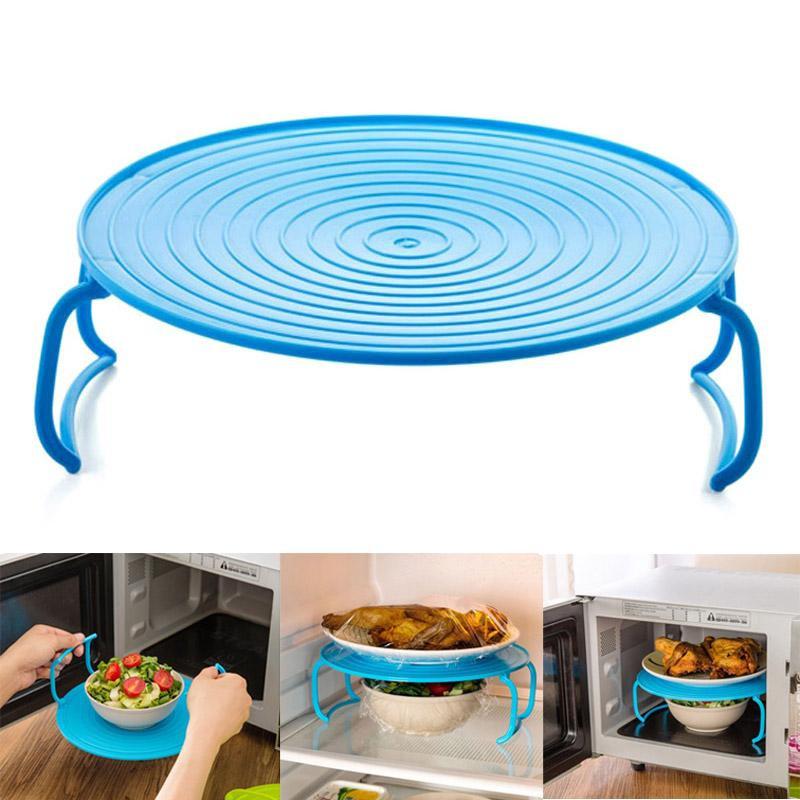 Многофункциональная подставка для подогрева блюд в микроволновке, 23 см, цвет голубой