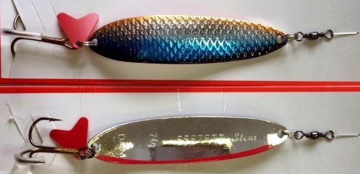 Блесна Effzett SLIM Original Colors перелив черно-сине-серебро-оранж/серебро с красной полосой