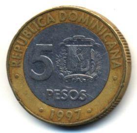 Доминикана 5 песо 1997