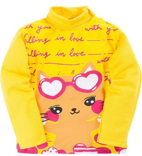 Водолазка для девочек 1-4 лет Bonito желтая с котёнком