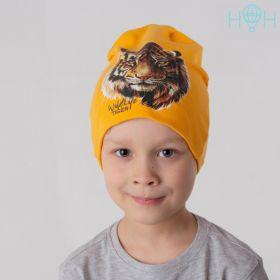 HOH  ШВ19-04511788 Шапка двухслойная трикотажная с аппликацией Тигр, горчица +Снуд