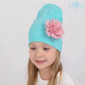 HOH ШВ19-13620321 Двухслойная трикотажная шапка с цветком, лапша мята