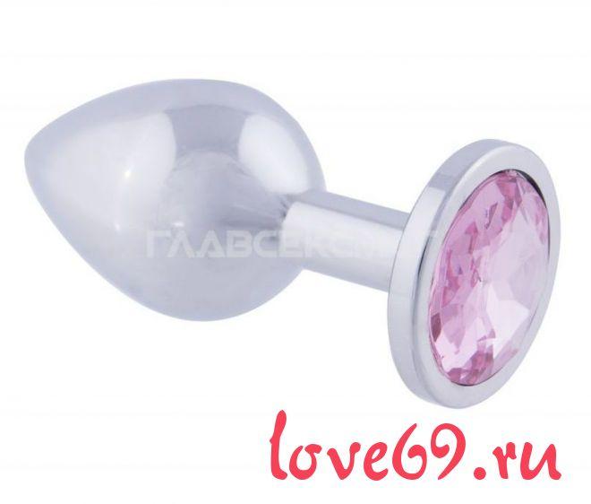Серебристая анальная пробка с розовым кристаллом - 9,5 см.