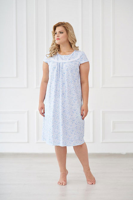 Ночная сорочка арт.0084 голубая, кулирка