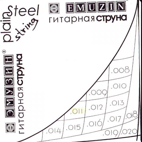 EMUZIN 011с Струна без обмотки диаметром .011/сталь/