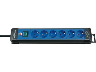 Удлинитель Brennenstuhl Premium-Line с выключателем, 6 розеток; 3 метра, черный/синий, кабель H05VV-F 3G1,5 (1951360100)