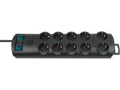 Удлинитель Brennenstuhl Primera-Line 10 розеток, 2 метра, 2 выключателя, кабель H05VV-F 3G1,5; черный (1153300120)