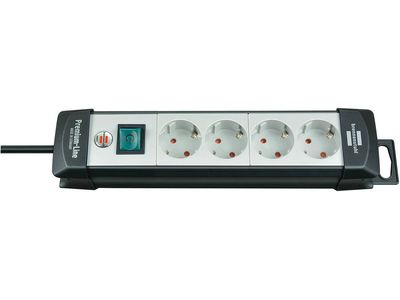Удлинитель Brennenstuhl Premium-Line с выключателем, 4 розетки; 1,8 метра, черный/серый, кабель H05VV-F 3G1,5 (1951540110)