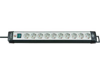 Удлинитель Brennenstuhl Premium-Line с выключателем, 10 розеток; 3 метра, черный/серый, кабель H05VV-F 3G1,5 (1951500110)