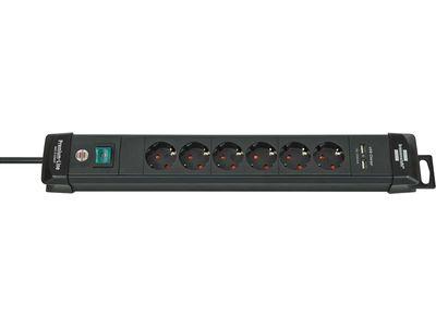Удлинитель Brennenstuhl Premium-Line с USB портами и выключателем, 6 розеток; 3 метра, черный, кабель H05VV-F 3G1,5 (1951160601)