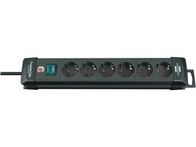 Удлинитель Brennenstuhl Premium-Line с выключателем, 6 розеток; 3 метра, черный, кабель H05VV-F 3G1,5 (1951160100)