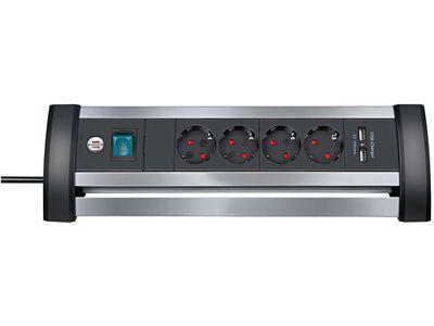 Удлинитель Brennenstuhl Alu-Office-Line, 4 розетки и 2 порта USB, 1,8 метра; серебристый/черный, кабель H05VV-F 3G1,5 (1394000514)