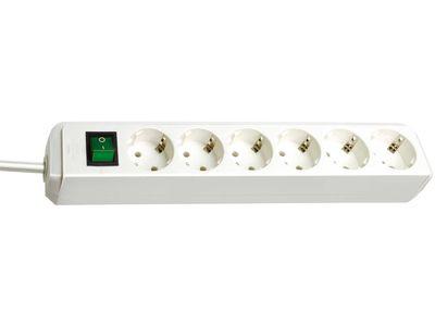 Удлинитель Brennenstuhl Eco-Line 6 розеток; 1,5 м. кабель H05VV-F 3G1,5; белый; с выключателем (1159520015)