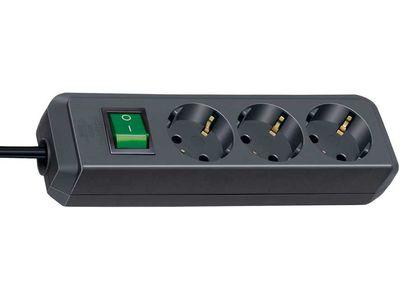 Удлинитель Brennenstuhl Eco-Line 3 розетки; 1,5 м. кабель H05VV-F 3G1,5; черный; с выключателем (1152300015)