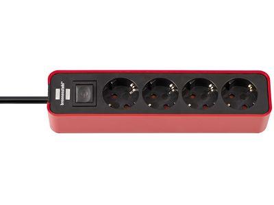 Удлинитель Brennenstuhl Ecolor 4 розетки, 1,5 метра, с выключателем, кабель H05VV-F 3G1,5; красный-черный (1153240070)