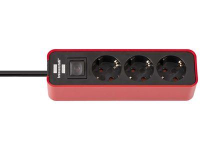 Удлинитель Brennenstuhl Ecolor 3 розетки, 1,5 метра, с выключателем, кабель H05VV-F 3G1,5; красный-черный (1153230070)