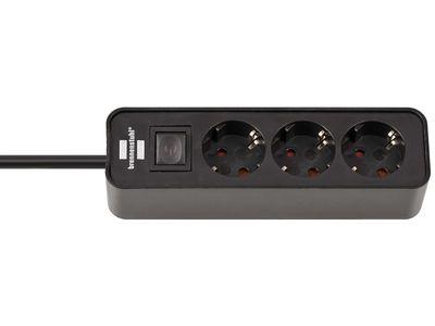 Удлинитель Brennenstuhl Ecolor 3 розетки, 1,5 метра, с выключателем, кабель H05VV-F 3G1,5; черный (1153230000)