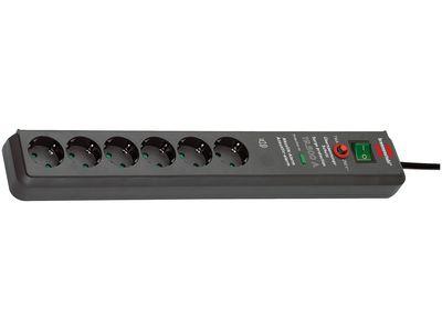 Сетевой фильтр Brennenstuhl Secure-Tec с сигнализацией перегрузки 19500 А, 6 розеток, 3 метра, антрацит, кабель H05VV-F, 3G1,5 (1159540376)
