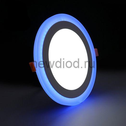 Светильник встраиваемый Sirius 3W+3W-210Lm 75/105mm синий КРУГ Oreol