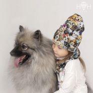HOH ШВ19-12281290 Двухслойная удлиненная трикотажная шапка с принтом щенки +Снуд