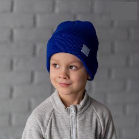 HOH ШД19т-17081842 Шапка вязаная синяя со шевроном, синий